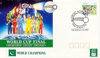 Australian Post Office Souvenir Cover 110 Mm X 190 For Cricket World Cup 92 70 Stamp Postmarked With Commemorative Postmark